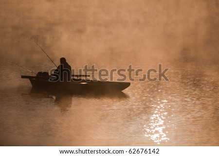 Fishing on the river in the morning