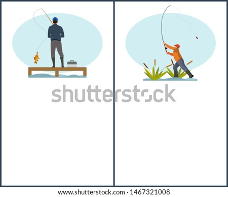 Fishing or angling hobby or sport activity poster with place for text sample. Man with spinning and fish on pier or dock and fishman in reed throwing rod gear.