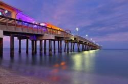 Fishing Peer at Dania Beach at Sun Set, Fort Lauderdale, Florida, USA.