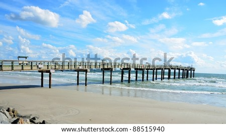 fishing pier at st augustine beach florida usa
