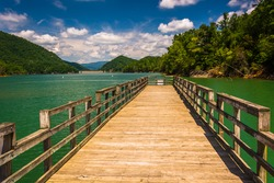 Fishing pier at Watauga Lake, in Cherokee National Forest, Tennessee.