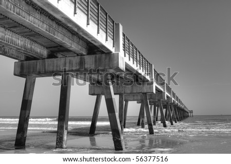 Fishing pier in jacksonville beach florida stock photo for Fishing piers in jacksonville fl