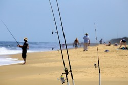 Fishing poles and fishing at Back Bay Wildlife center in Virginia Beach