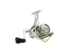 Fishing reel isolated on white background. Fishing supplies and equipment.