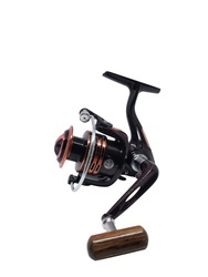 Fishing Reel Isolated on White. Fishing Rod with Aluminum Body & Spool. Black Ruby Metalic Fishing Gear.Fish Supplies and Equipment.