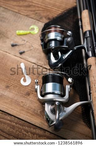 fishing rod. fishing reel. fishing background #1238561896