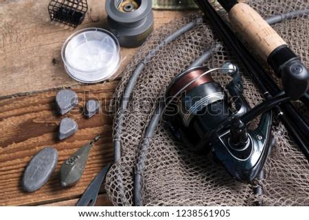 fishing rod. fishing reel. fishing background #1238561905