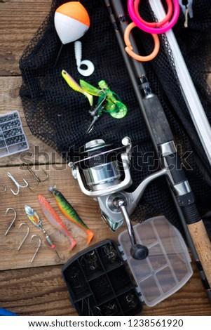 fishing rod. fishing reel. fishing background #1238561920