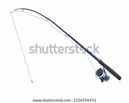 Fishing rod isolated on white background. 3D illustration. #1126596452