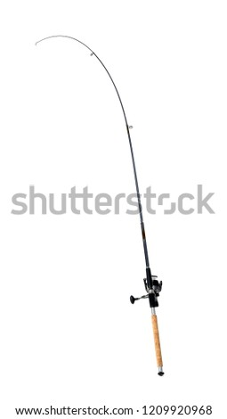 Fishing rod on white background. Angling equipment