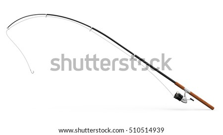 Fishing rod on white background 3D rendering #510514939