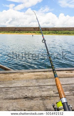 fishing rod ,spinner for fishing (fishing bob) on river natural #501692152