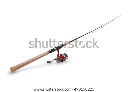 Fishing rod with a reel isolated on white background with soft shadow #490150225