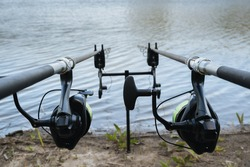 Fishing rods installed for fishing