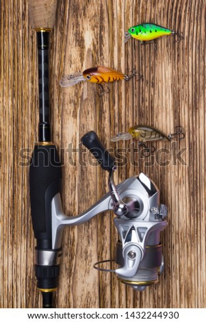 fishing set on a wooden background: collected spinning and bait in the form of multi-colored small fish #1432244930