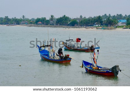 Fishing ship park on  BO IT BEACH in Songkhla Lake, Thailand. #1061193062