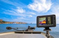 Fishing sonar, fish finder, echolot at the boat