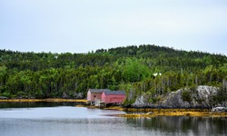 Fishing stages in a scenic outport community in Newfoundland and Labrador, Canada