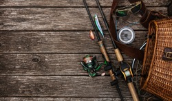 Fishing tackle background.