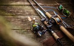 Fishing tackle blurred background.