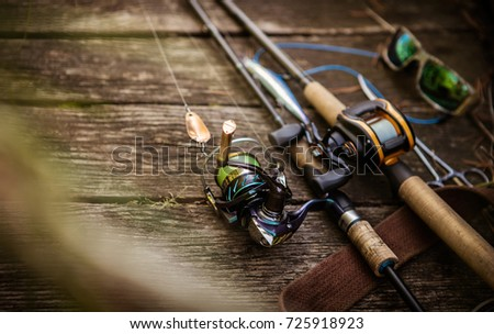 Fishing tackle blurred background. #725918923