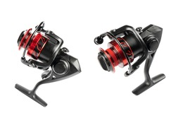 Fishing tackle. Fishing reel isolated on white background with clipping path. Modern fishing reel isolated. Empty space. Copy space. Mockup
