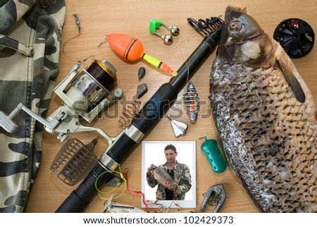 Fishing tackle, photography and fish caught
