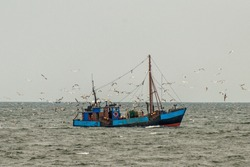 Fishing trawlers in the Baltic Sea off the island of Rügen