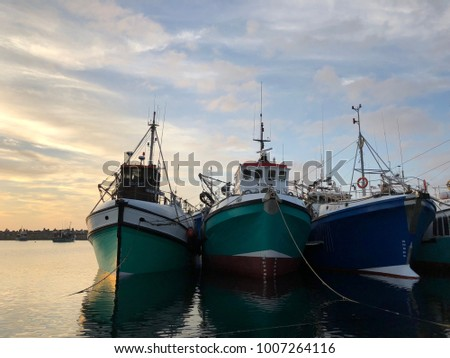 Fishing Trawlers stationed at harbor in South Africa  #1007264116