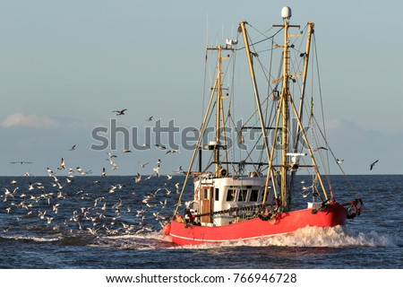 fishing vessel at sea #766946728