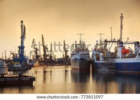 Fishing vessels and docks cranes in the port on the background of a sunset.