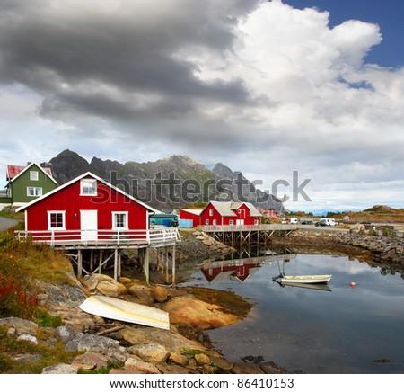 Fishing village Henningsvaer in Lofoten islands in Norway