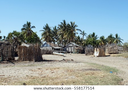 Fishing Village Of Wood And Thatch Huts Near Morondova Madagascar 558177514