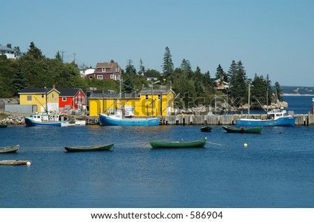 Fishing village with yellow building