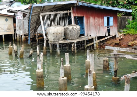 Fishing villages,Thailand - stock photo