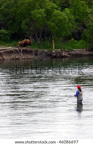 Fishing with brown bears