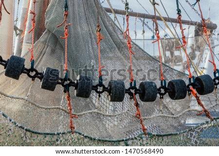 Fishings Nets at Fishing Harbor Greetsiel, North Sea, East Frisia, Germany
