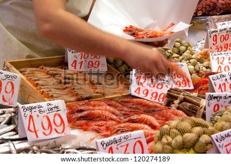 Fishmonger at Mercado de Maravillas. Fish Market stall in Madrid - Fresh Shrimp and crustacean
