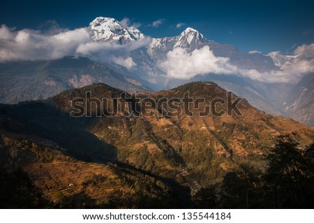 Fishtail peak and Annapura South with light and shadow. use for promote tourism
