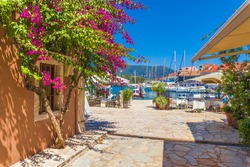Fiskardo village and harbor on Kefalonia Ionian island, Greece.