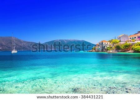 stock photo fiskardo village kefalonia island greece 384431221 - Каталог — Фотообои «Море, пляж»