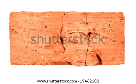 Fissured brick isolated with clipping path isolated over white