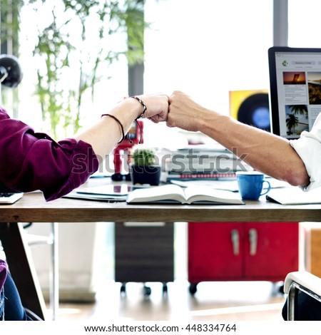 Fist Bump Corporate Colleagues Teamwork Office Concept #448334764