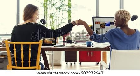 Fist Bump Corporate Colleagues Teamwork Office Concept