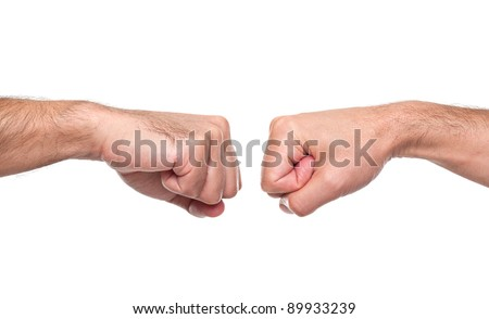 Fist bump isolated in white