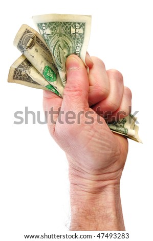 Fist Holding Three Dollar Bills Isolated on White