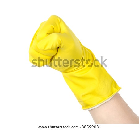 Fist in a yellow glove