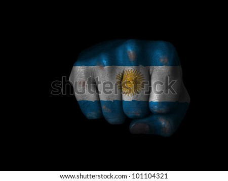 Fist of Argentina painted - stock photo
