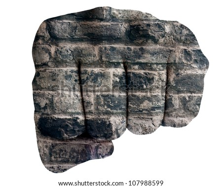 Fist of stone isolated on white background