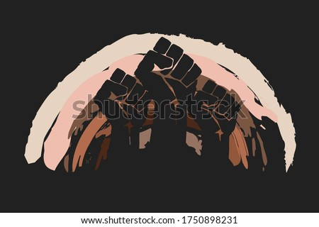 Fist protesting on background of rainbow in different race skin colors.  No racism concept. Different races protest, interracial community unity. Black lives matter. Pride month